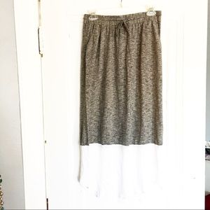 Tribal Maxi Skirt  Gray and White